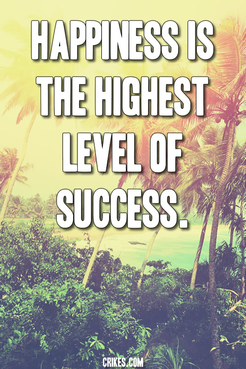 'Happiness is the highest level of success.' - a powerful short life quote on contentment taken from our big gallery of inspirational photo quotes at http://www.seffsaid.com/big-gallery-motivational-photo-quotes/