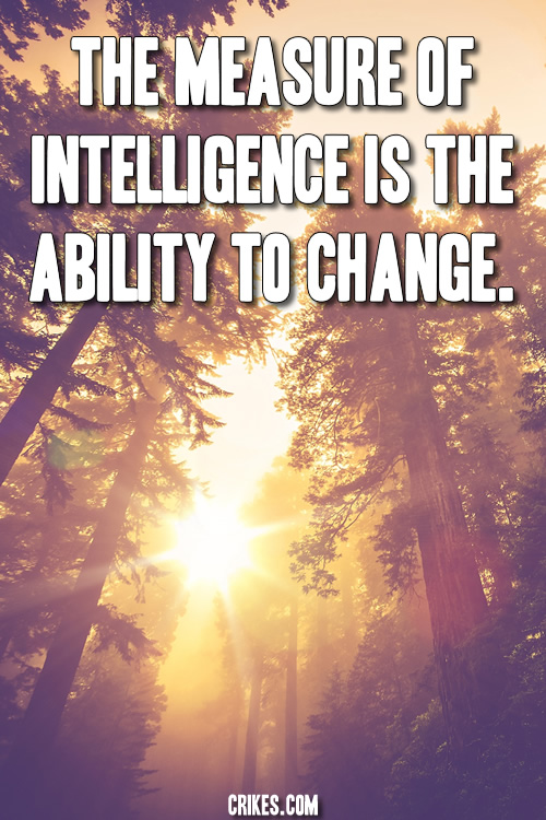 'The measure of intelligence is the ability to change.' One of Albert Einstein's most famous life quotes. See our big gallery of motivational quotes at http://www.seffsaid.com/big-gallery-motivational-photo-quotes/